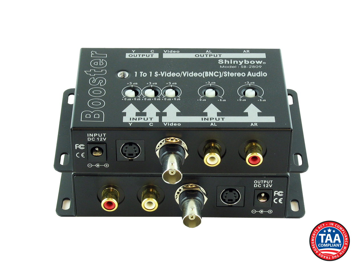 SB-2809: (1)In-(1)Out S-Video/Video/Audio Booster (BNC)