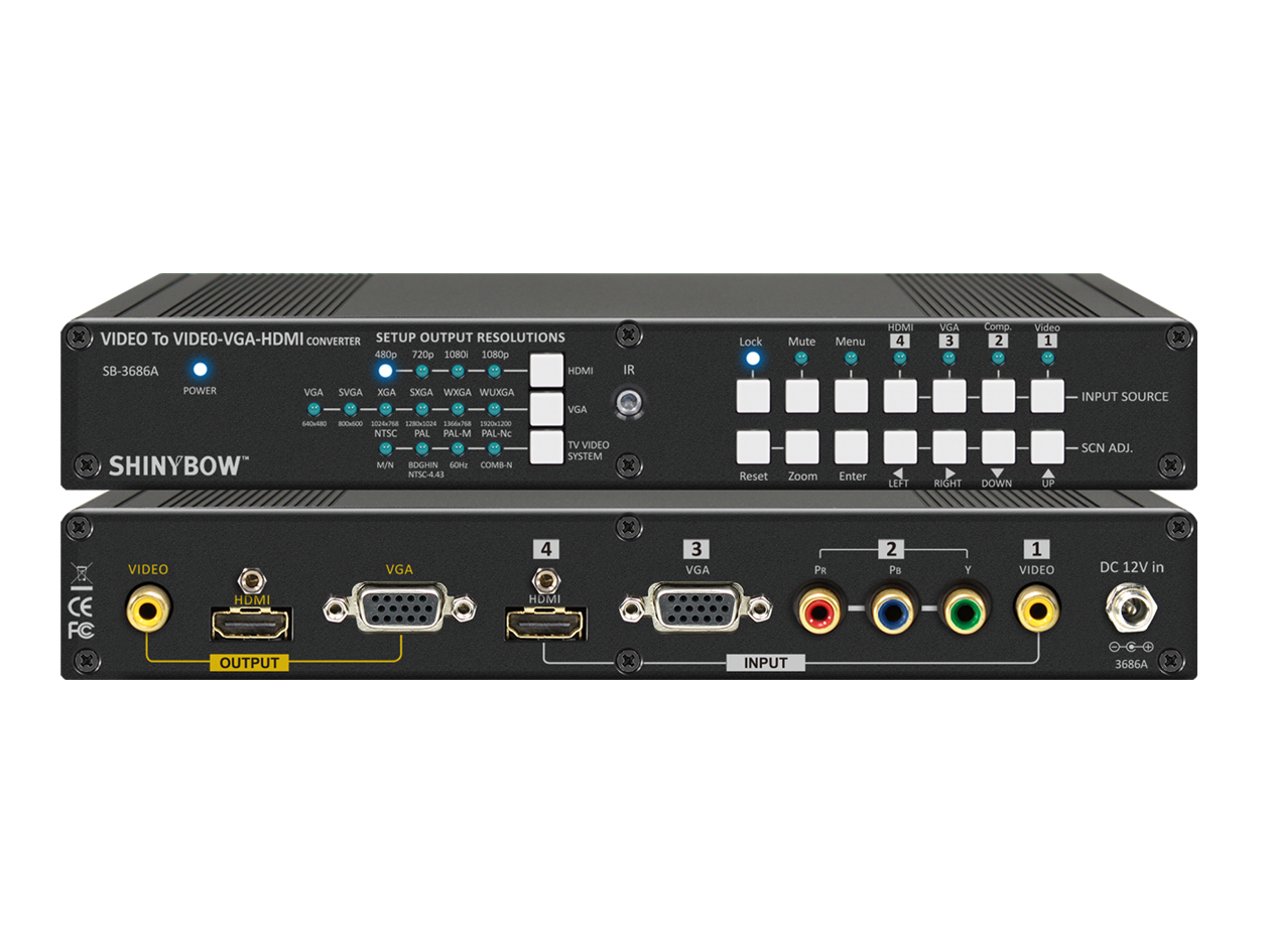SB-3686a: NTSC/PAL To/From NTSC/PAL DIGITAL VIDEO CONVERTER w/VGA, HDMI and Composite Video