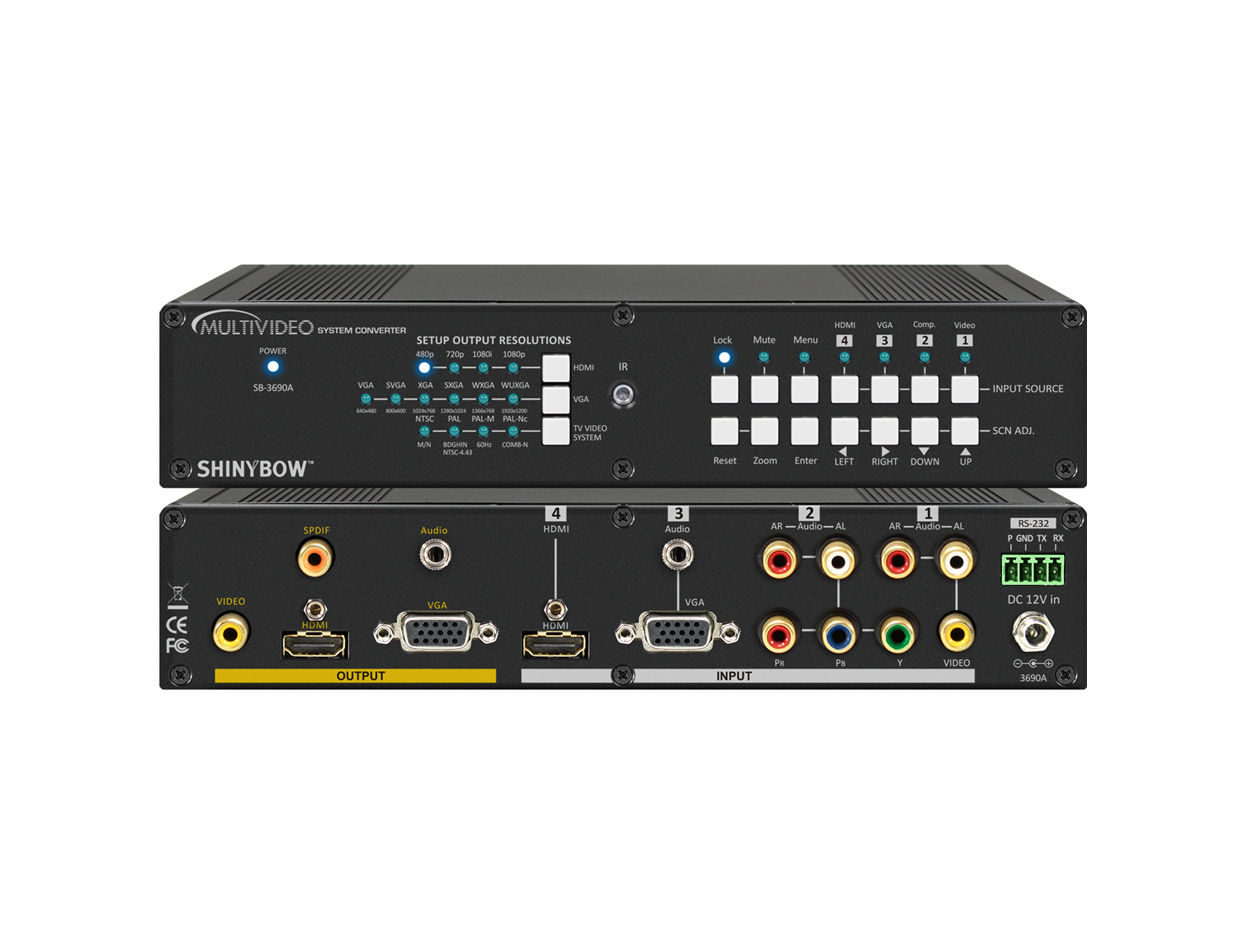 SB-3690A: MultiVideo Digital Converter Scaler to HDMI/VGA with Audio