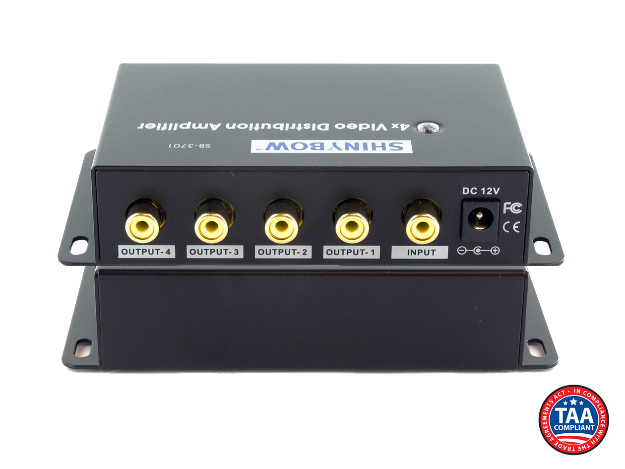 ShinybowUSA 4-WAY SHINYBOW COMPOSITE VIDEO DISTRIBUTION AMPLIFIER, A/V Amplifiers/Extenders/Converters