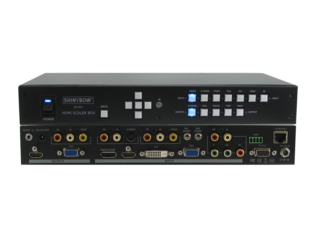 SB-3879: 7x2 (mirrored) Multi Format HDMI Video Scaler Selector Switch - 7 In's Converted to VGA & HDMI Output