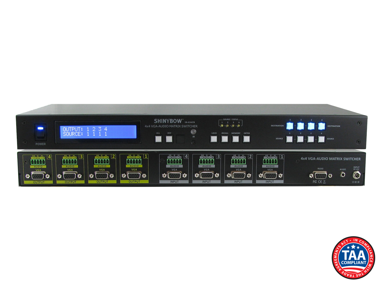 SB-4144TB: 4x4 VGA w/ Stereo Audio (Terminal block) Matrix Routing Switcher + IR + RS232
