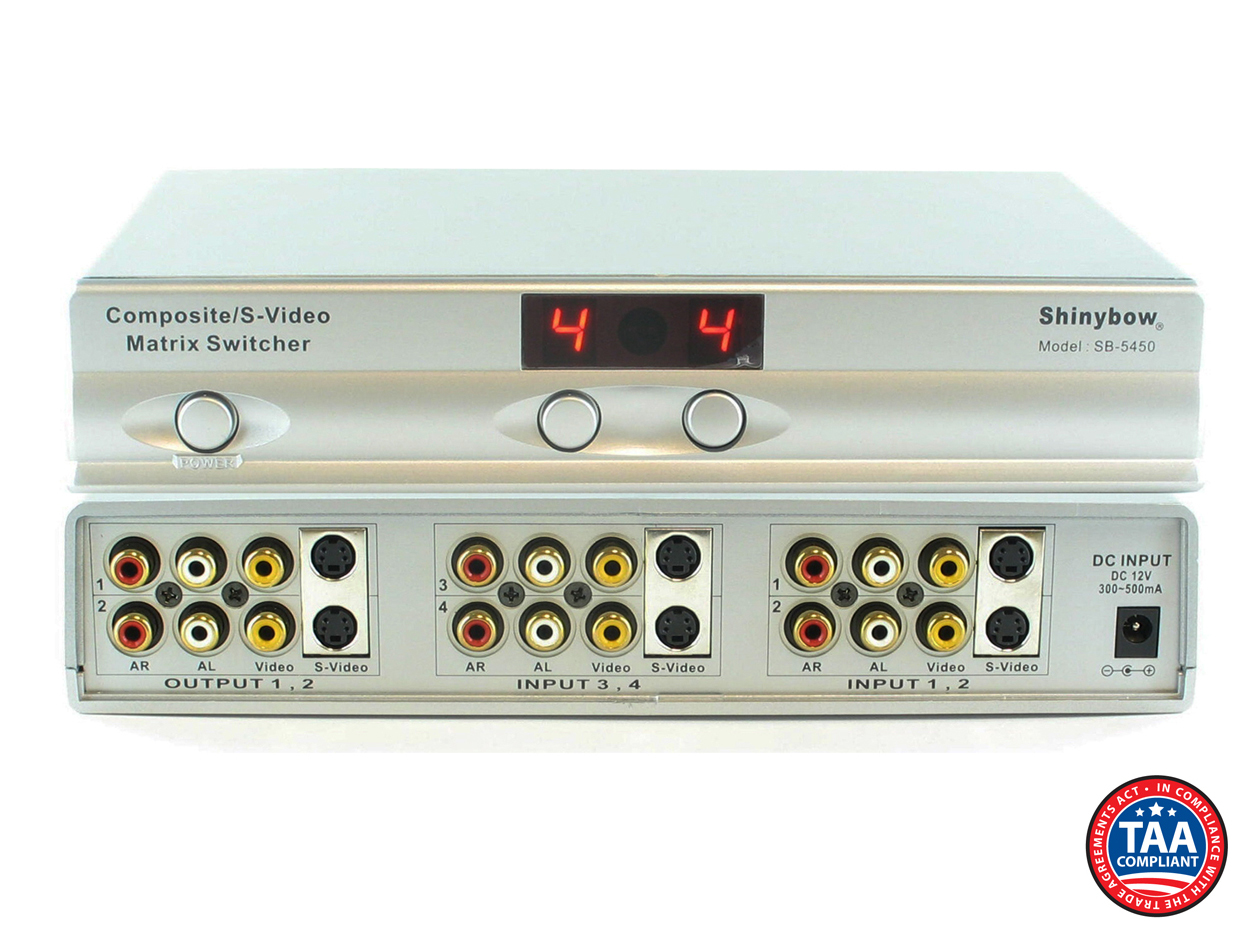 SB-5450: 4x2 Composite/S-Video/Audio Matrix Routing Switcher (IR)