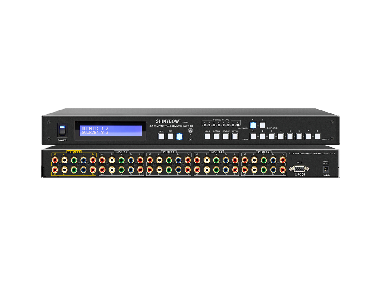 SB-5582LCM: 8x2 Component Video/Stereo Audio Matrix Switcher + RS-232