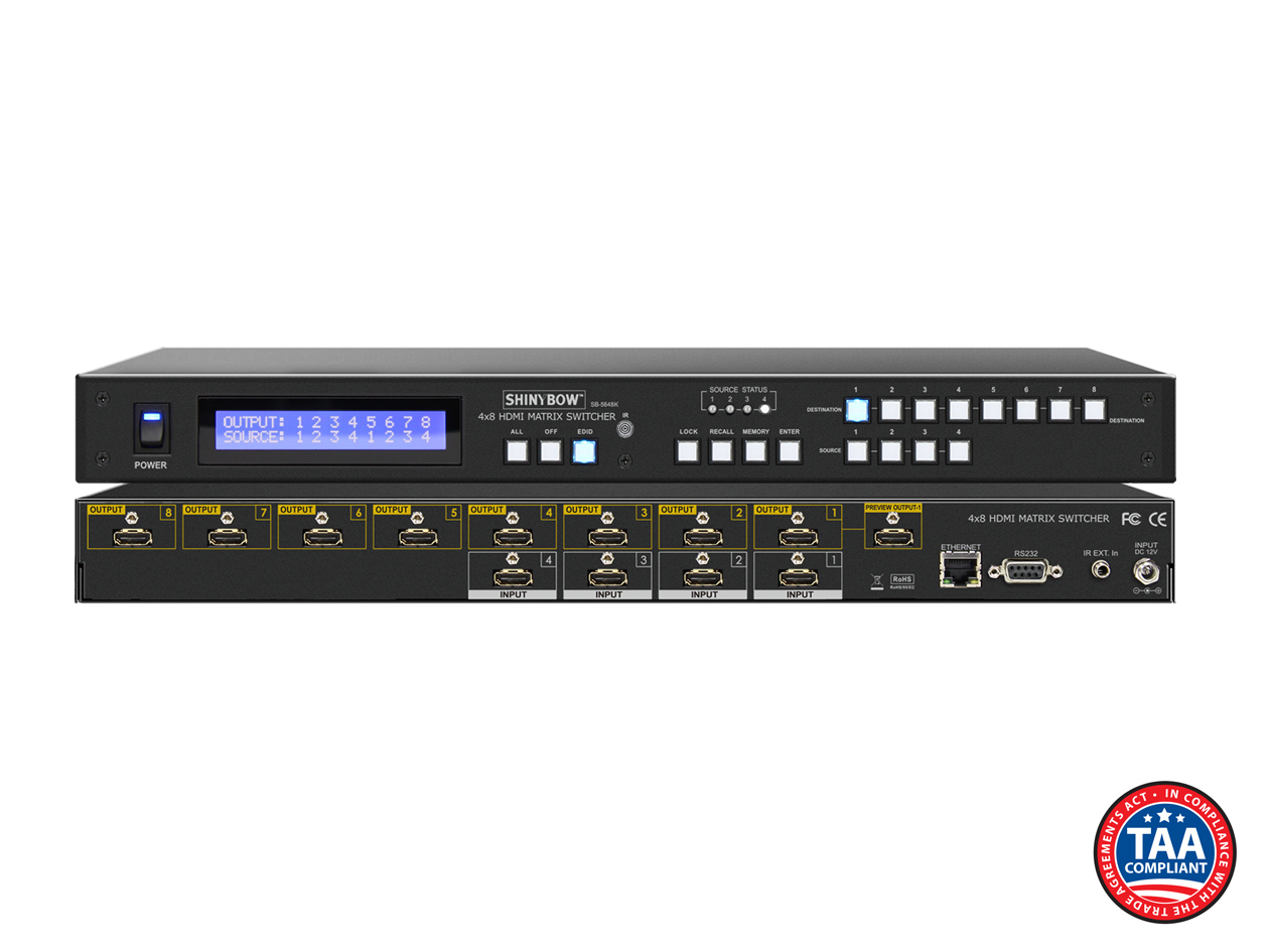 SB-5648K: 4x8 UHD 4K2K@30Hz HDMI Matrix Routing w/ Full EDID Management/Learning