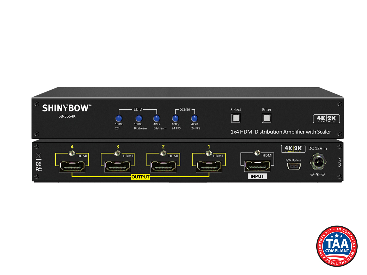 SB-5654K: 1x4 HDMI UHD 4K2K Distribution Amplifier w/ Scaler