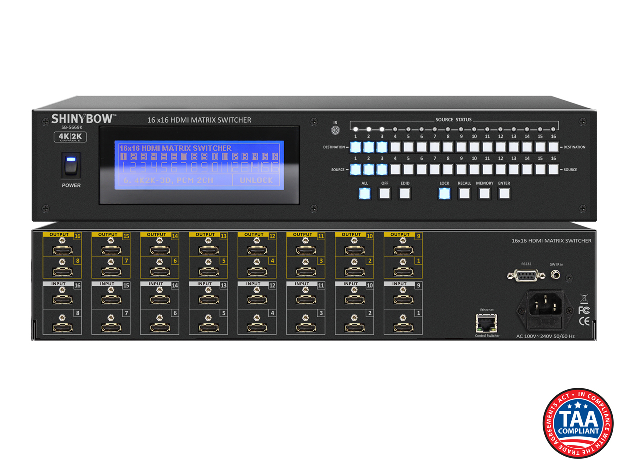 SB-5669K: 16x16 UHD 4K2K HDMI Matrix Routing Switcher w/ Full EDID Management/Learning