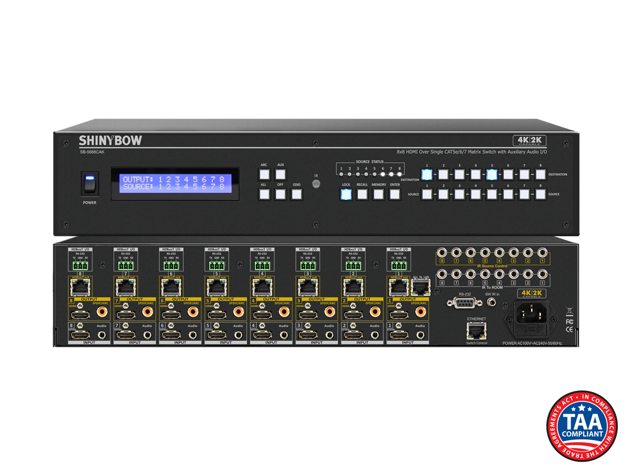 SB-5688CAK: 8x HDMI Inputs / 8x HDMI & 8x HDBaseT™ Outputs - UHD 4K2K Matrix Routing Switch w/ EDID Management/Learning w/ Auxiliary Audio I/O