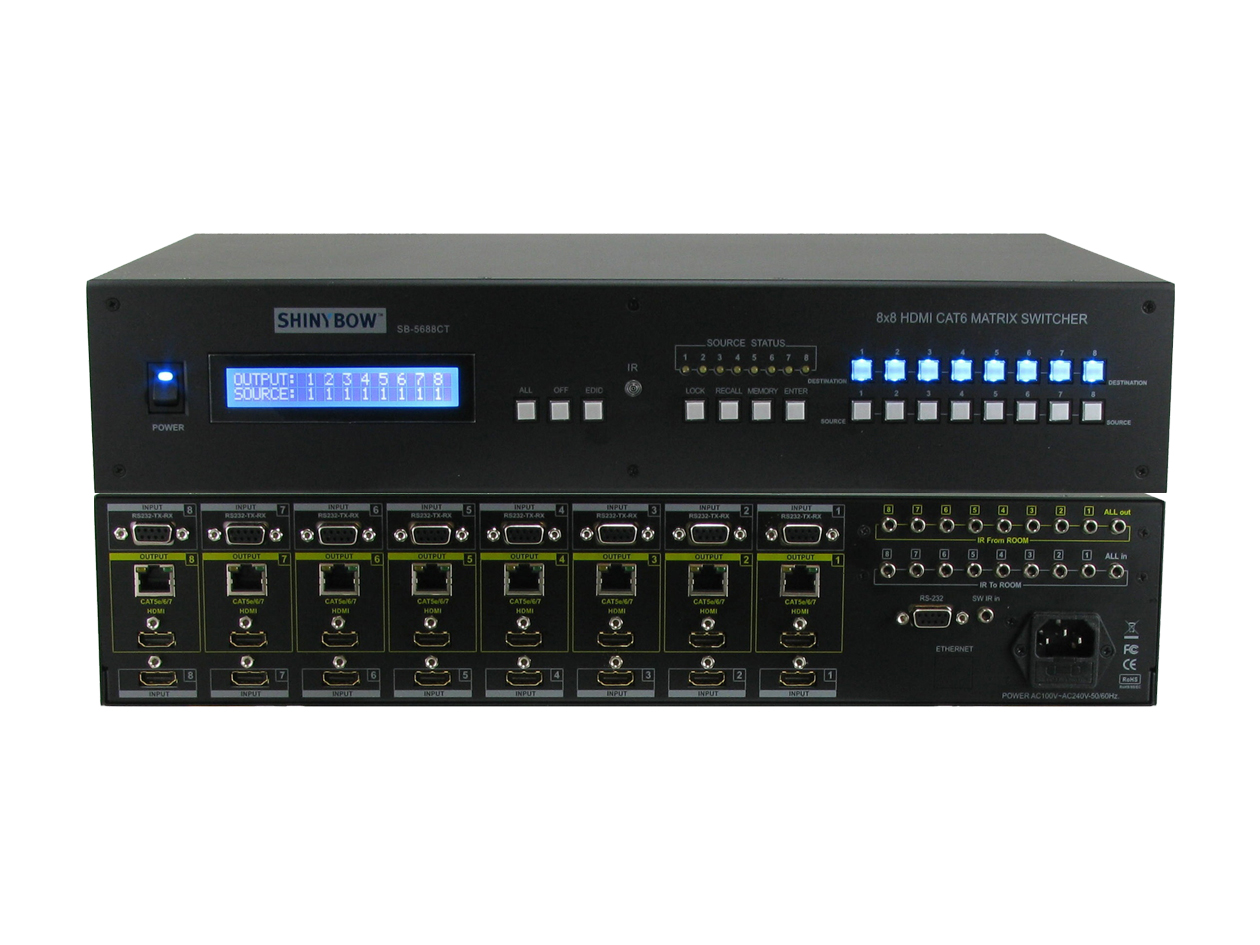 SB-5688LCM-CT: 8x8 HDMI & HDBaseT� Over Single CAT5e/6/7 Matrix Routing Switcher
