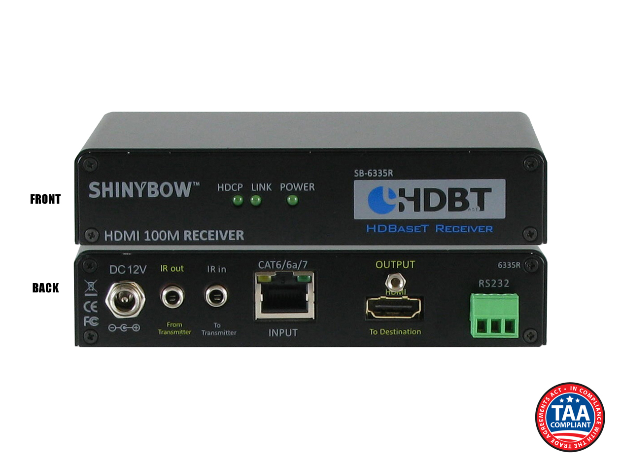 SB-6335R: HDMI HDBaseT™ Receiver up to 330 ft (100M) (2-Way IR, RS-232, HDMI)