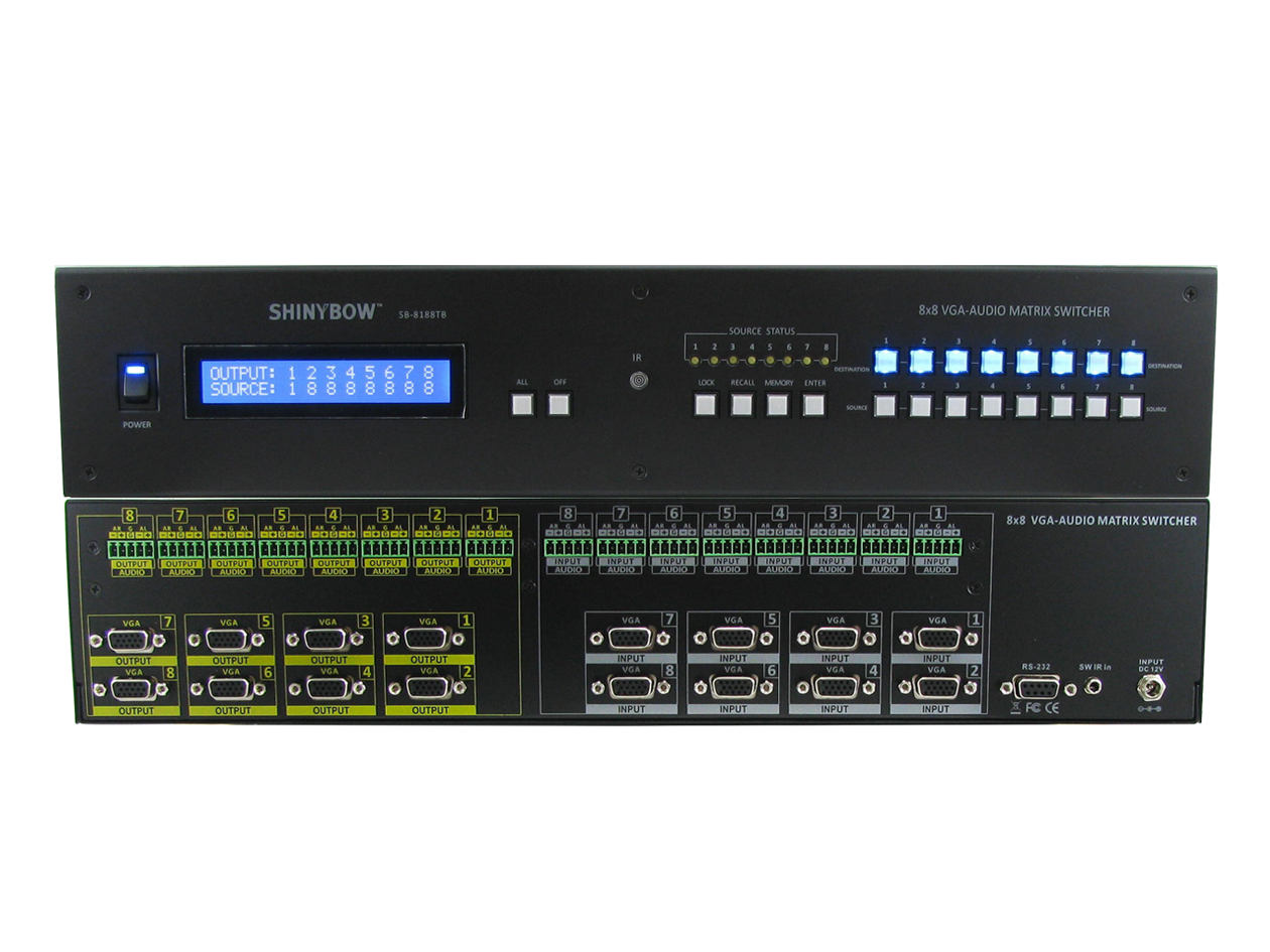 SB-8188TB: 8x8 VGA (RGBHV) HDTV w/ Stereo Analog Audio (Terminal block) Matrix Routing Switcher