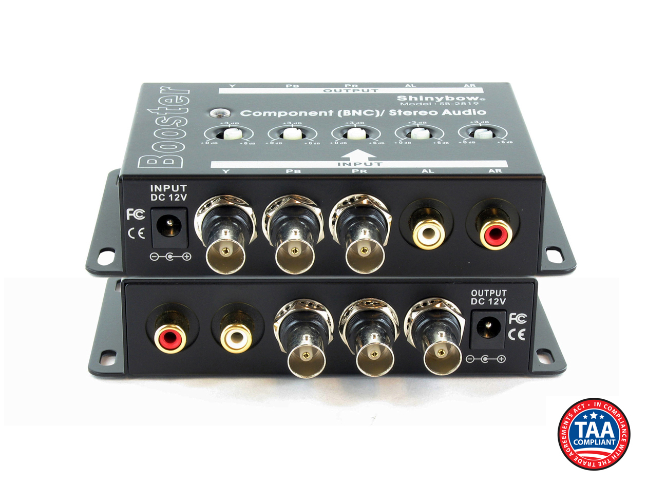 SB-2819BNC: (1)In-(1)Out Component Video/Audio Booster (BNC)