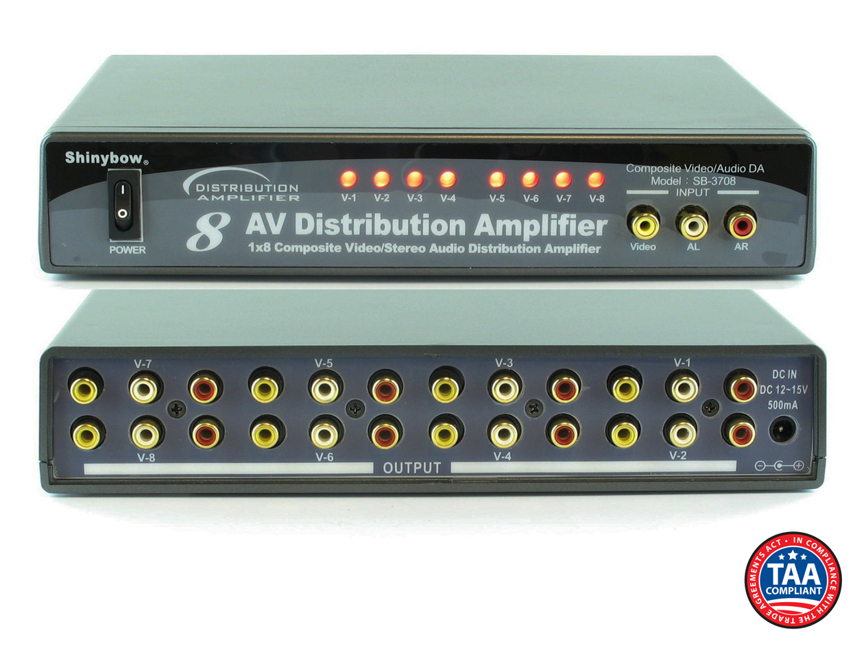 SB-3708: 1x8 Composite Video and Stereo Audio Distribution Amplifier
