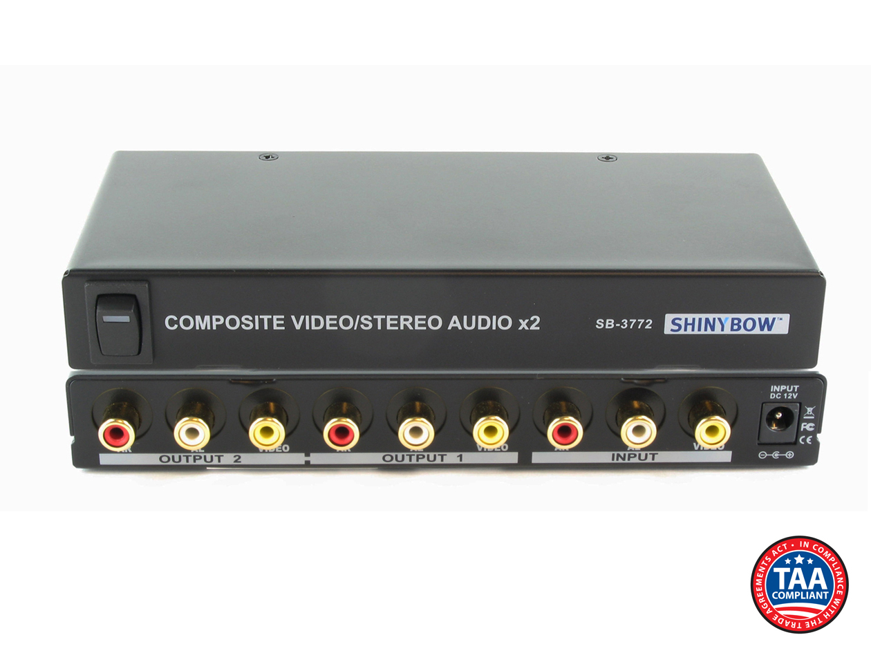 SB-3772: 1x2 Composite Video and Stereo Audio Distribution Amplifier