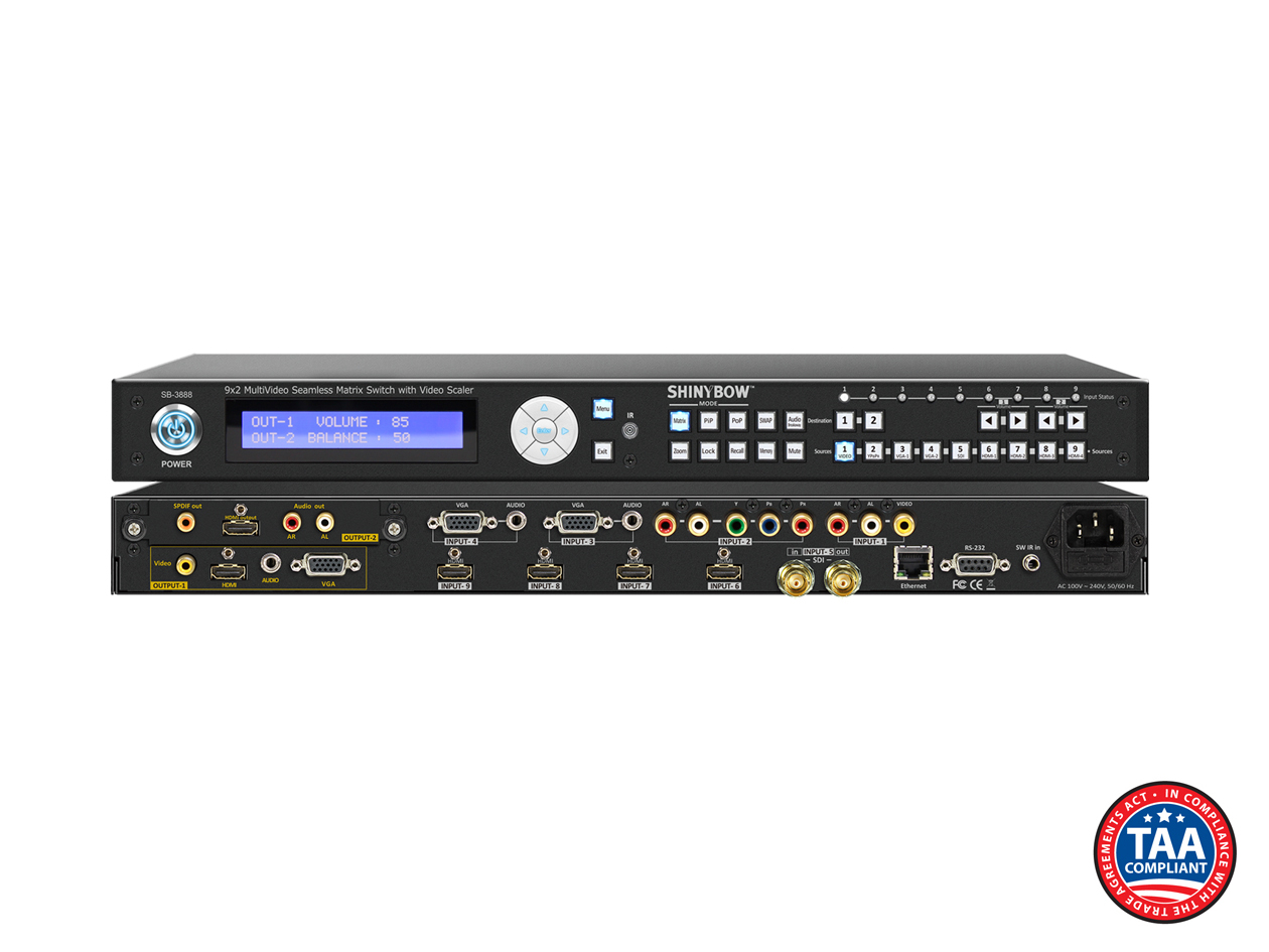 SB-3888: 9x2 Multi Format Seamless Matrix Routing Switch Scaler w/ Opt. 2nd Modular Output Slot