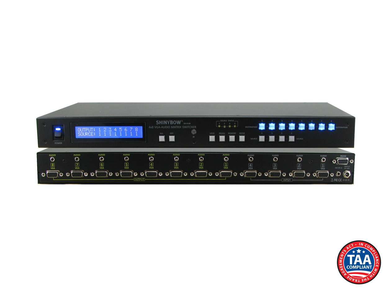 SB-4148LCM: 4x8 VGA w/ Stereo Audio Matrix Routing Switcher + IR + RS232