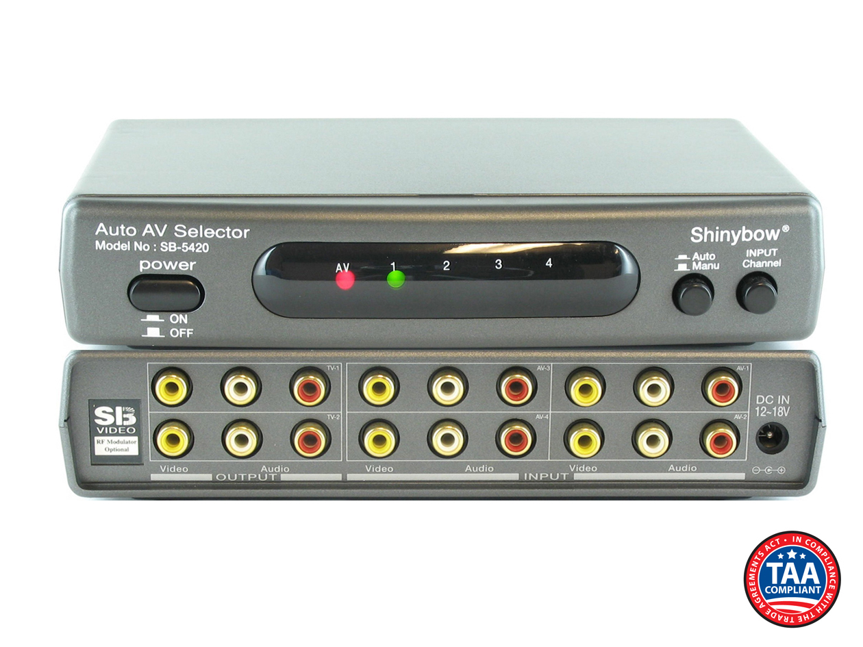SB-5420: 4x2 Auto Switching Composite Video/Stereo Audio Switch