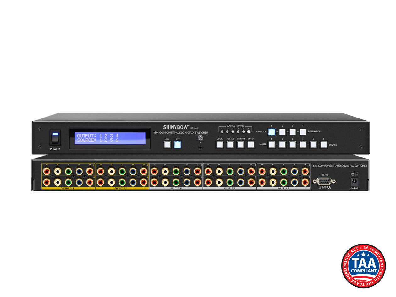 SB-5564LCM: 6x4 Component Video/Stereo Audio Matrix Routing Switcher