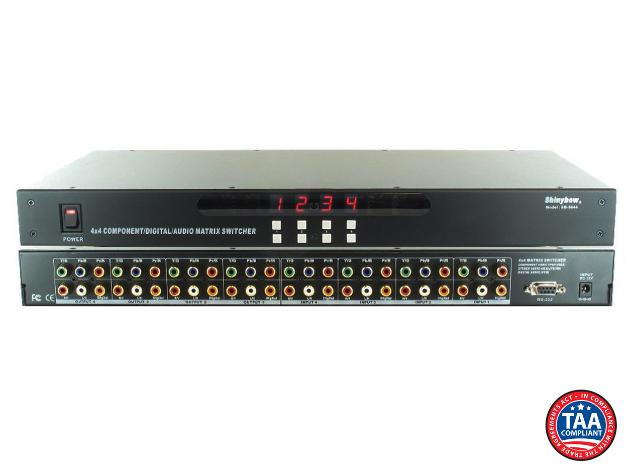 SB-5644: 4x4 HDTV Component/Digital/Audio Matrix Routing Switcher w/ IR + RS-232