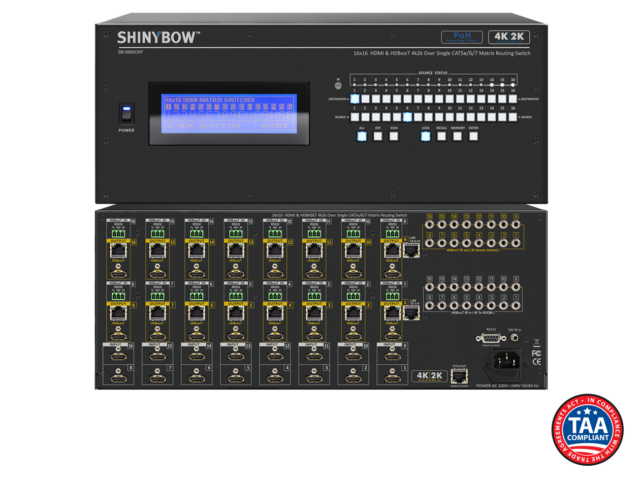SB-5669CKP: 16x16 4K2K / PoE / HDMI & HDBaseT™ - UHD 4K2K Matrix Routing Switch w/ Full EDID Management/Learning