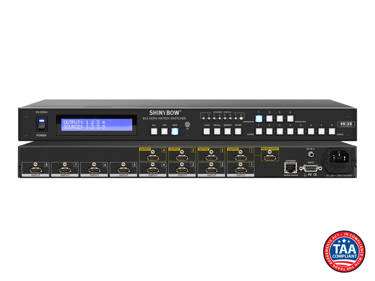 SB-5684K: 8x4 HDMI UHD 4K2K Matrix Routing Switch w/ Full EDID Management/Learning   B-STOCK
