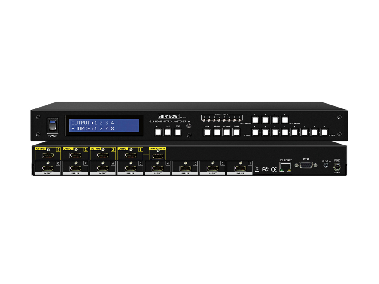 SB-5684LCM: 8x4 +1 Preview Port HDMI Matrix Routing Switcher w/ Full EDID Management/Learning