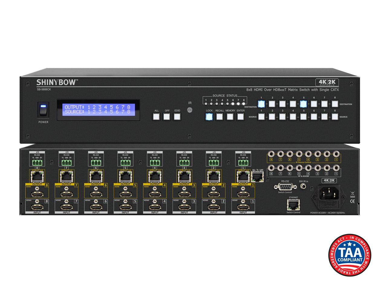 SB-5688CK B-STOCK: 8x HDMI Inputs / 8x HDMI & 8x HDBaseT™ Outputs - UHD 4K2K Matrix Routing Switch w/ EDID Management/Learning