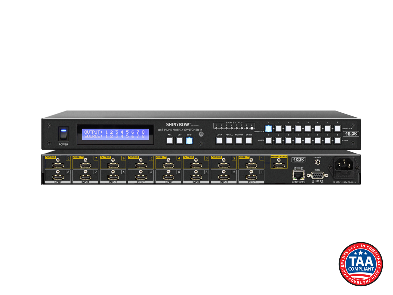 SB-5688Kp: 8x8 HDMI Matrix Routing Switch w/ Full EDID Management/Learning - UHD 4K2K w/ Preview Port
