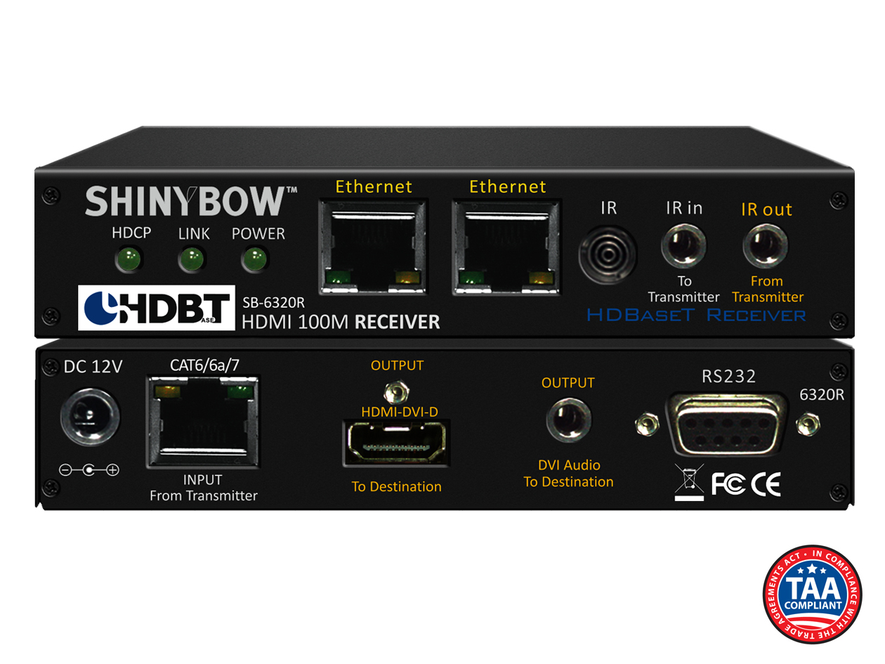 SB-6320R: HDMI HDBaseT™ Receiver up to 330 ft (100M) (Dual LAN, 2-Way IR, RS-232, HDMI & Audio for DVI)