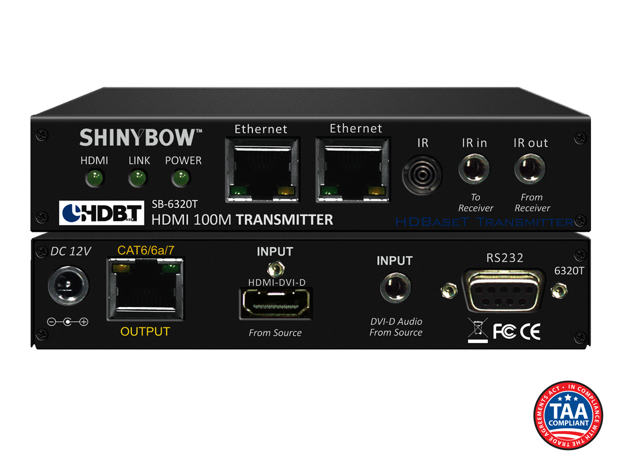 SB-6320T: HDMI HDBaseT™ Transmitter up to 330 ft (100M) (Dual LAN, 2-Way IR, RS-232, HDMI & Audio for DVI)