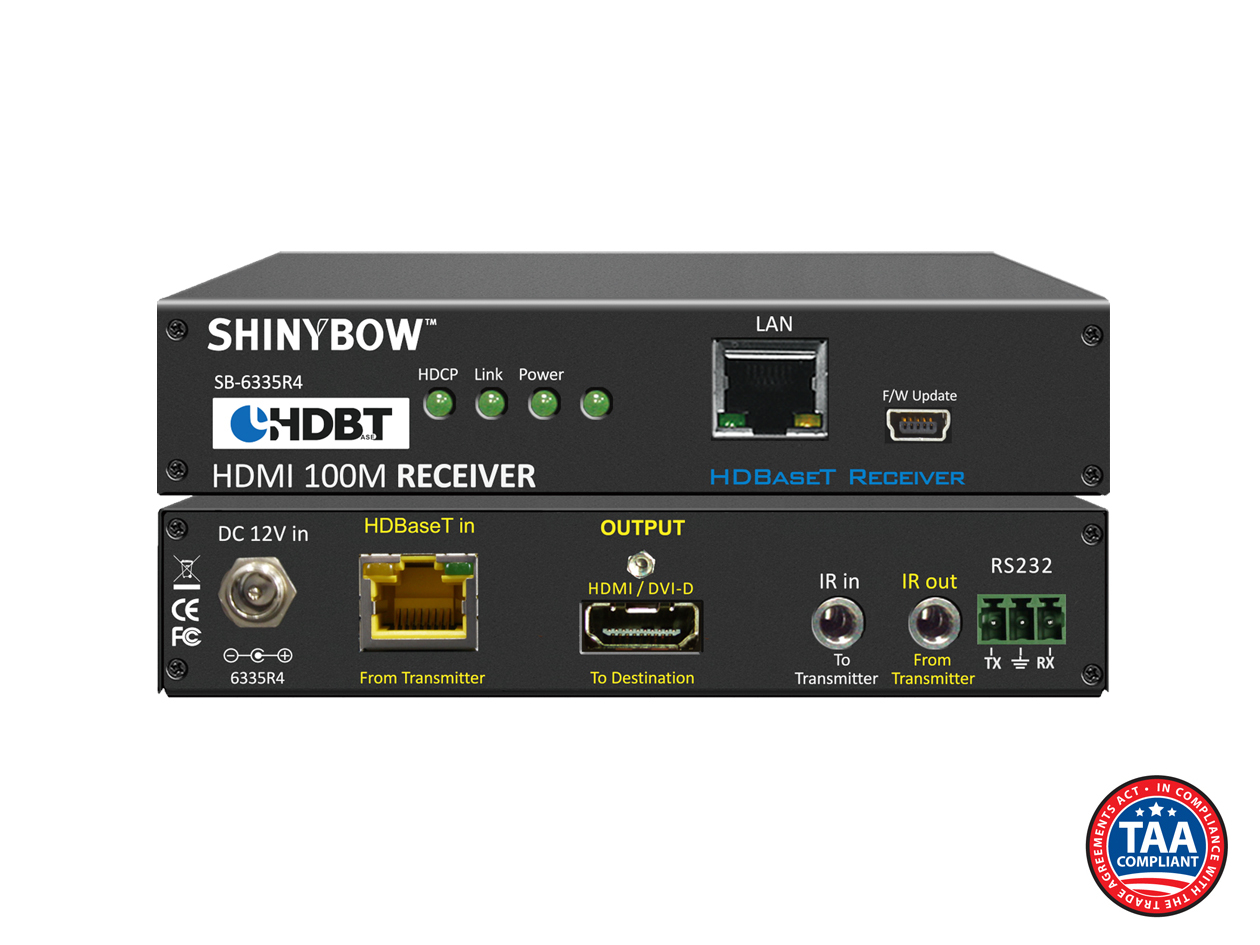 SB-6335R4: 4-Play HDBaseT™ Receiver up to 330 ft (100M) (Single LAN, 2-Way IR, RS-232, HDMI)