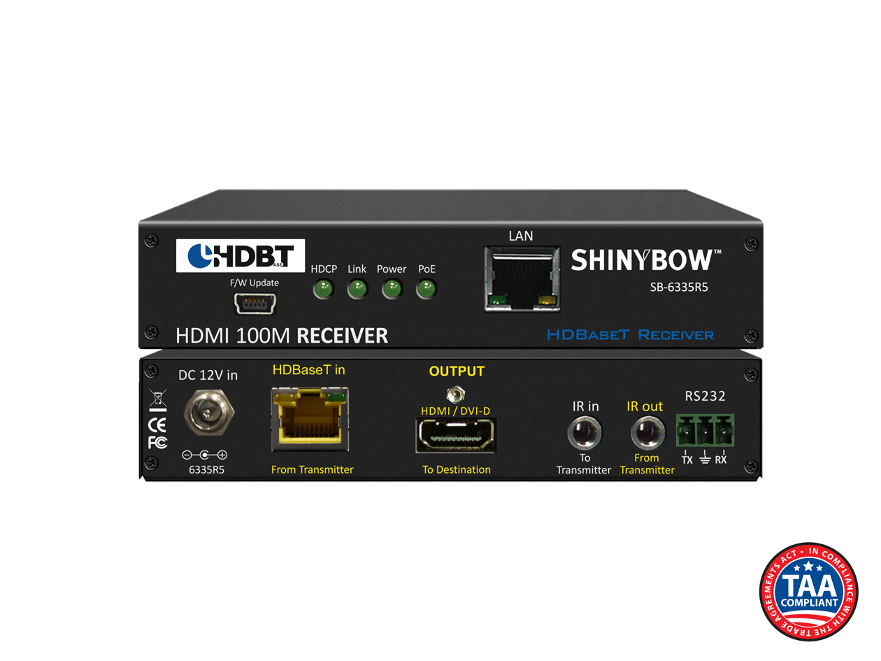 SB-6335R5: 5-Play HDBaseT™ PoH Receiver up to 330 ft (100M) (Single LAN, 2-Way IR, RS-232, HDMI)