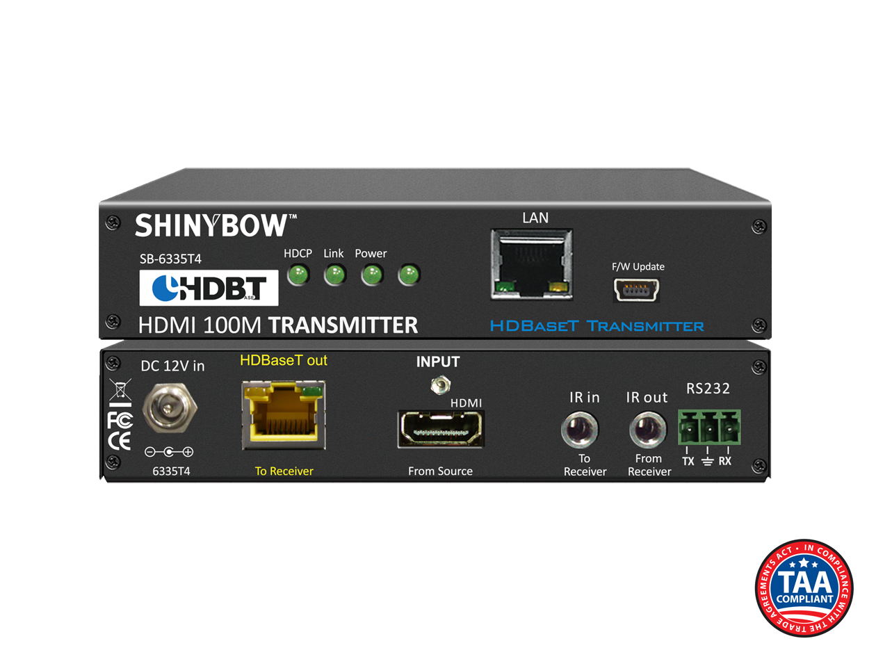 SB-6335T4: 4-Play HDBaseT™ Transmitter up to 330 ft (100M) (Single LAN, 2-Way IR, RS-232, HDMI)