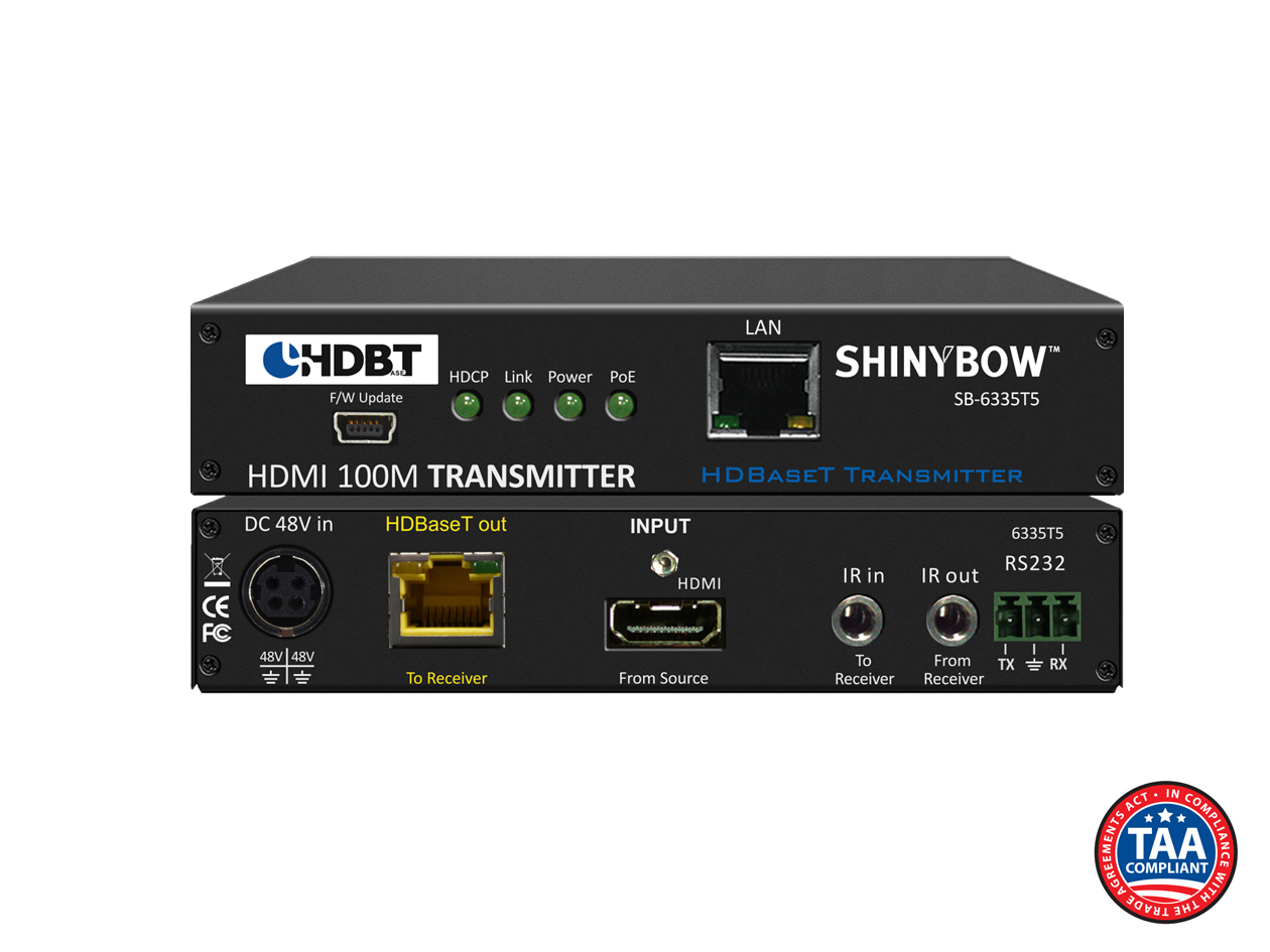 SB-6335T5: 5-Play HDBaseT™ PoH Transmitter up to 330 ft (100M) (Single LAN, 2-Way IR, RS-232, HDMI)