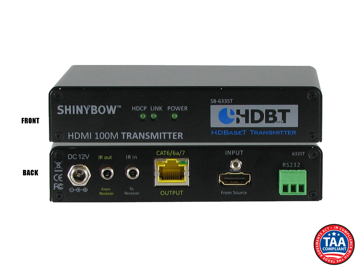 SB-6335T: HDMI HDBaseT™ Transmitter up to 330 ft (2-Way IR, RS-232, HDMI)