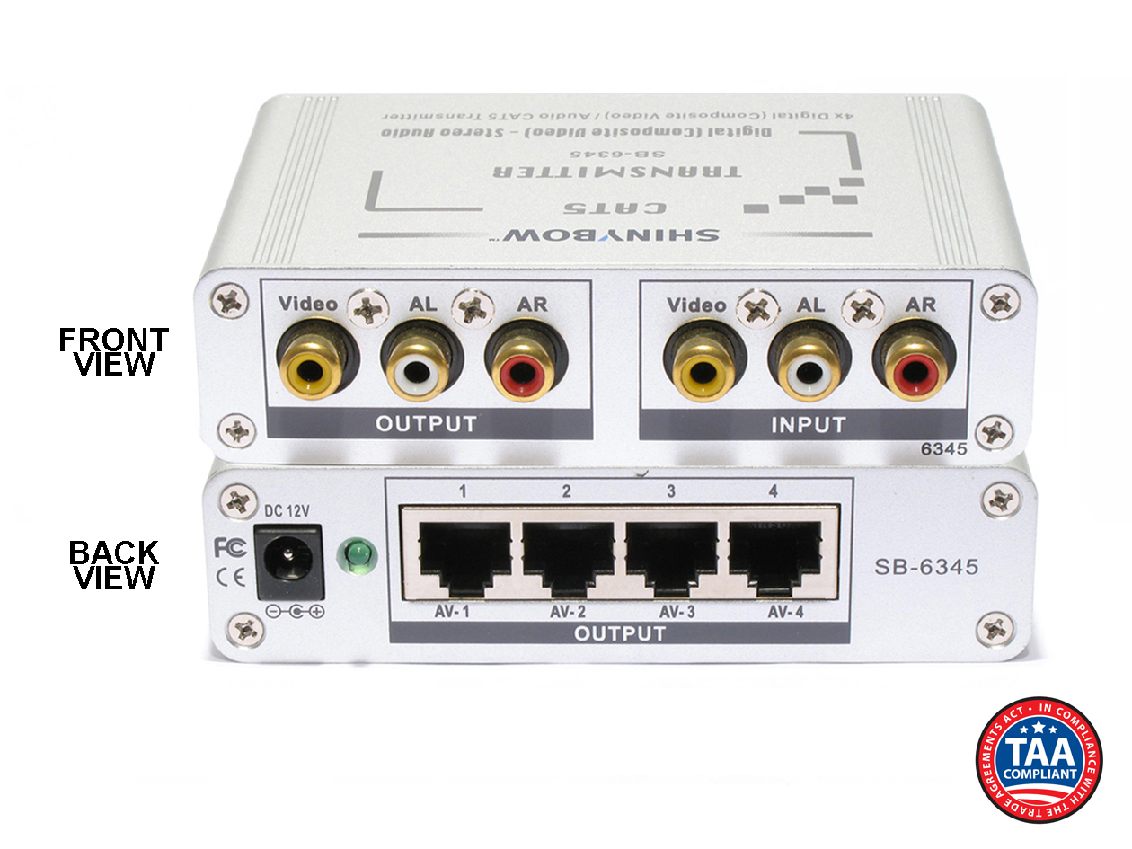 SB-6345T: CAT5/Composite Video - Digital & Stereo Audio - TRANSMITTER